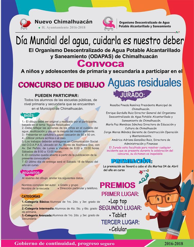 Odapas chimalhuac n convoca a concurso de dibujo fuerza - Concurso de dibujo 2017 ...